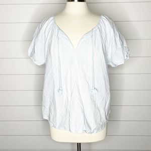 LOFT Swiss Dot Embroidered Peasant Top Blue Large